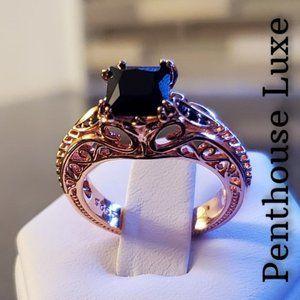 14k Rose Gold Obsidian Sterling Silver Ring